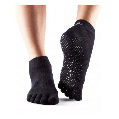 ToeSox Full Toe Ankle Grip Socks In Black