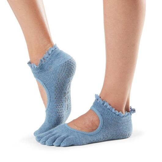 ToeSox Full Toe Bella Grip Socks In Denim Lace